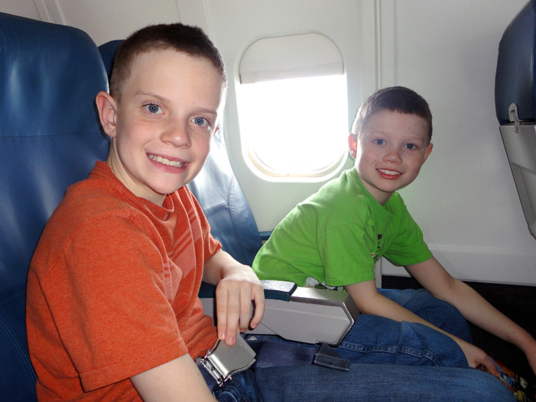 Jacob and Andrew settling in for the flight (176.25 KB)