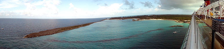 Here's a panoramic view of Castaway Cay from the Dream (77.65 KB)